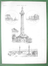 ARCHITECTURE PRINT 1855: Paris Toll Plaza near Place de La Nation Columns - $17.82