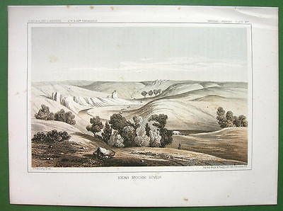 AMERICAN WEST NOrth Dakota Scenery near Mouse River - 1850s Tinted Litho Print