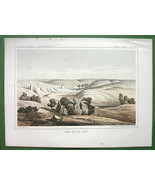 AMERICAN WEST NOrth Dakota Scenery near Mouse River - 1850s Tinted Litho... - $15.84