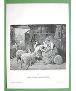 FAMILY IDYL Children Barn Sheep - VICTORIAN Era... - $17.82