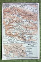 GERMANY Eisleben Frankenhausen - 1904 MAP ORIGI... - $5.45