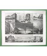VOLCANOES Hawaii Faroe Pacific Glaciers - SUPERB Antique Print - $21.78