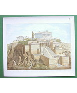 GREECE Athens Acropolis Restored View - COLOR L... - $59.39