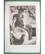 ORIGINAL ETCHING 1883 Print - ROMAN MOTHER with... - $43.56