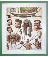 SOUTH AMERICA Indians Botocudos Camacans - COLOR Antique Print A. Racinet - $14.80