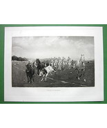 HUSSARS Soldier Troops Ride on Horses - 1893 Victorian Era Antique Print - $29.65