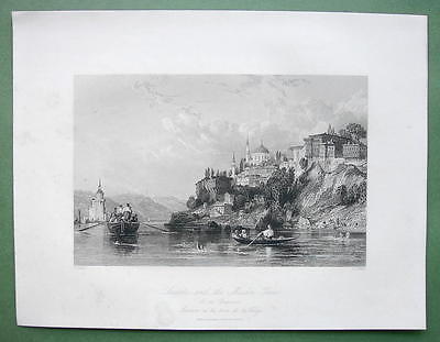 CONSTANTINOPLE Scutari & Maiden Tower - ALLOM 1840s Original Engraving Print