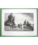 FISHERMEN Boats Before Sailing at Capstan- 1893 Victorian Era Antique Print - $29.65