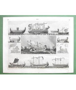 SAILSHIPS Phoenicians Roman War Games Naumachia - SUPERB 1844 Antique Print - $33.66