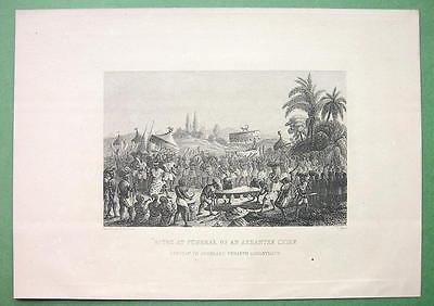 AFRICA Gold Coast Rites at Funeral of Ashantee Chief - Antique Print Engraving