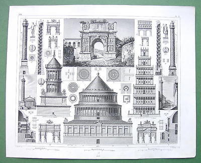 ITALY Roman Architecture Temples Arches - 1844 SUPERB Antique Print Engraving