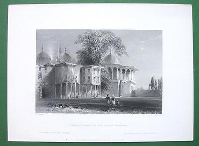 CONSTANTINOPLE Court of Serai Bournou - ca 1840 Original Print Engraving