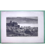 ORIGINAL ETCHING - England Cattle Cows Pasture ... - $27.72