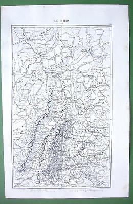 1846 ANTIQUE ORIGINAL MAP - GERMANY Rhine River Valley