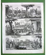 AFRICA Natives Abyssinia Congo Benguela Scenes - 1844 Antique Print Engr... - $17.82