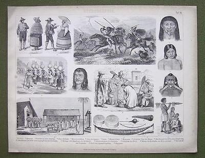 ETHNOGRAPHY South America Natives Indians - 1870s Original Print Engraving