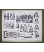 ETHNOGRAPHY South America Natives Indians - 187... - $14.84