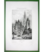 FRANCE Senlis Cathedral Street View - SUPERB An... - $33.66