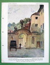 PRAGUE Count Vrtba Palace Courtyard - COLOR Antique Print - $7.92