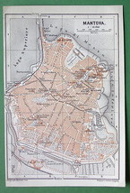 1909 MAP ORIGINAL Baedeker - MANTOVA Mantua in ... - $6.44