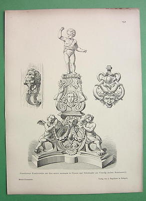ARCHITECTURE PRINT : Italy 16th C Ironwork Door Knockers Fireplace Accessories