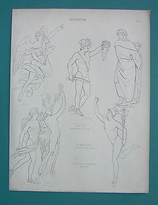 NUDE Sculpture Art Perseus Medusa Mercury - 1830 Antique Print Engraving