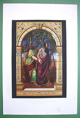 STAINED GLASS WINDOW Bible Blind Tobit & Wife Anna - VICTORIAN Color Print
