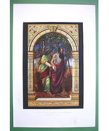 STAINED GLASS WINDOW Bible Blind Tobit & Wife A... - $23.76