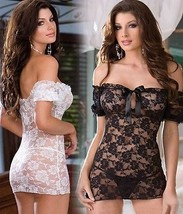 New Sexy Lace Baby Doll Lingerie Off Shoulder Nightdress Mini G-string I... - $9.84