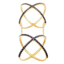 14 K Yellow Gold Vermeil Pave Open Double X Chain Black Cz Knuckle Ring Band 925 - $69.00