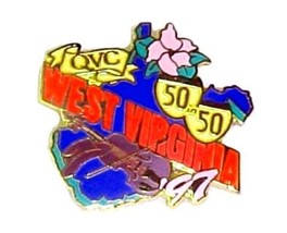 West Virginia QVC Collectible Lapel Pin Flowers Violin 50 in 50 Highway State 97 - $12.58