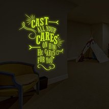 """( 52"""" x 63"""" ) Glowing Vinyl Wall Decal Quote Cast All Your Cares on Him / Glo... - $190.07"""