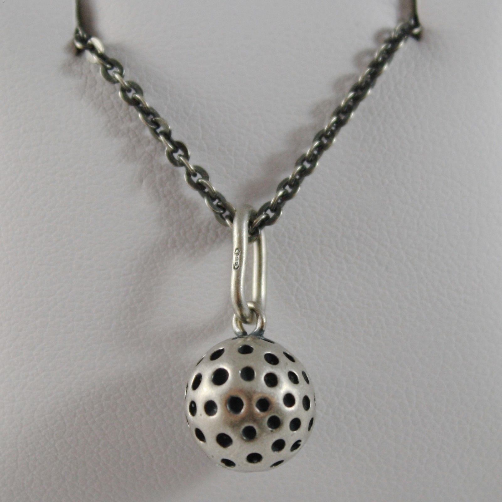 SOLID 925 BURNISHED SILVER NECKLACE, GOLF BALL BALLS PENDANT CHARM MADE IN ITALY