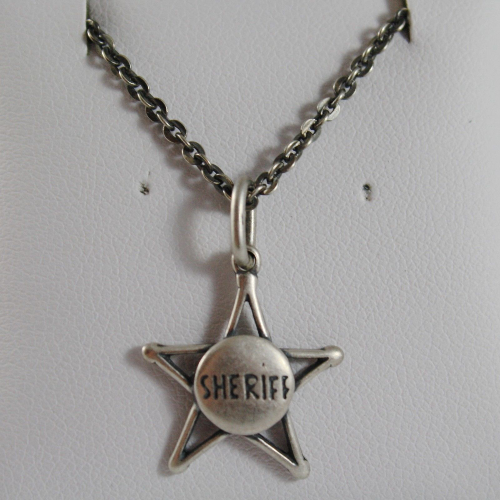 925 BURNISHED SILVER COWBOY SHERIFF STAR NECKLACE PENDANT CHAIN MADE IN ITALY