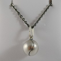 SOLID 925 BURNISHED SILVER NECKLACE WITH TENNIS BALL PENDANT CHARM MADE IN ITALY image 1