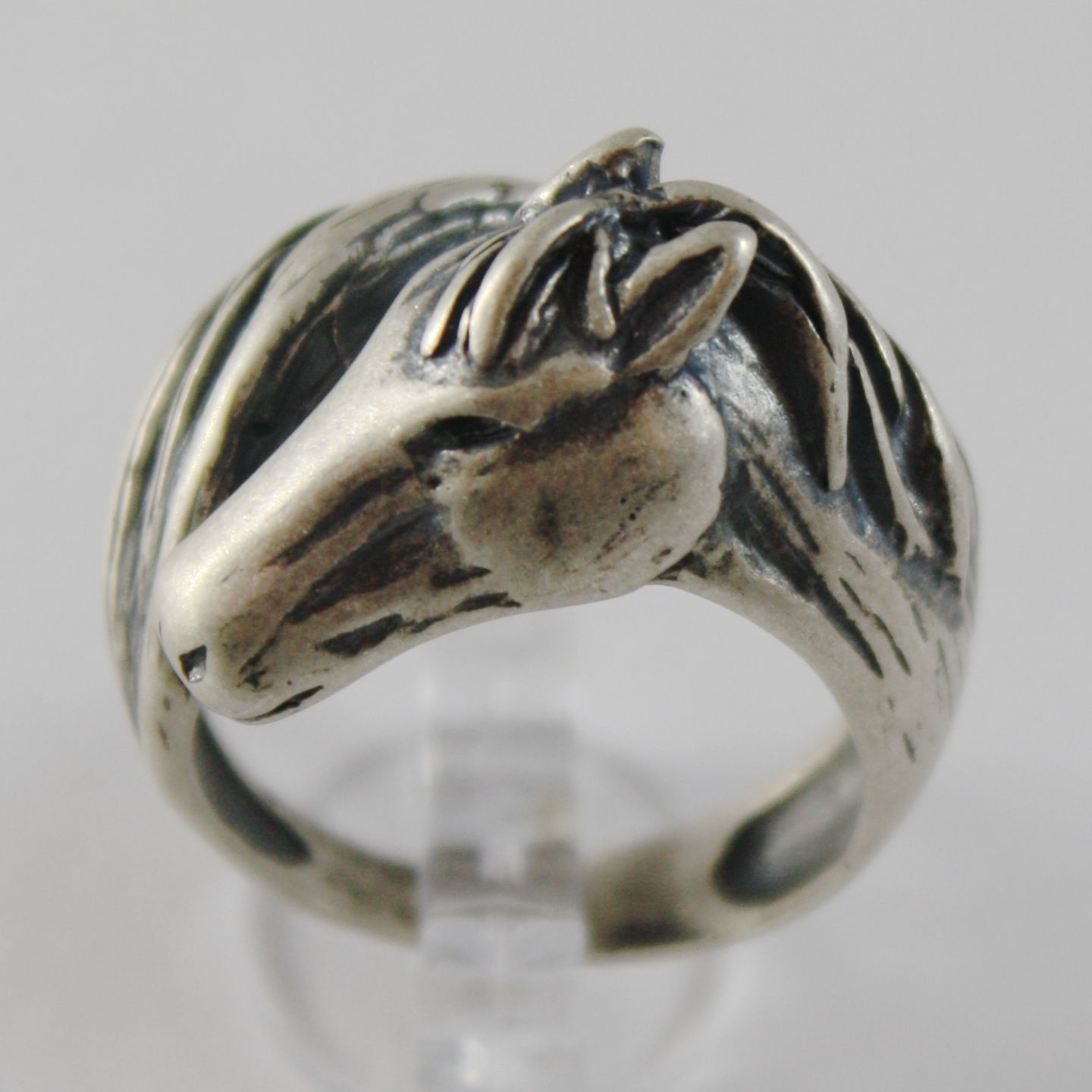 925 BURNISHED SILVER BAND HORSE RING CROSSED HEAD AND TAIL KNIGHT MADE IN ITALY
