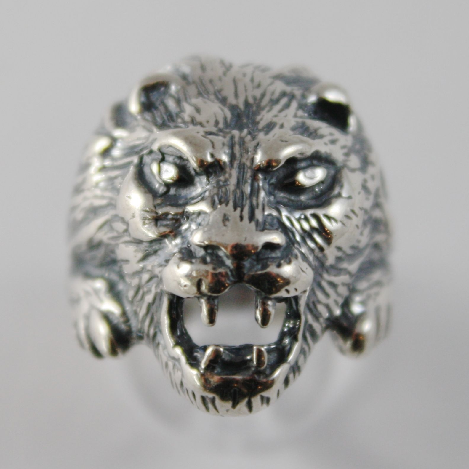SOLID 925 BURNISHED SILVER BAND RING LION HEAD FINELY WORKED, MADE IN ITALY