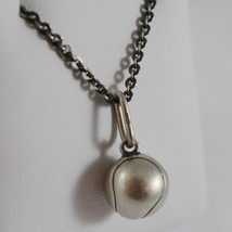 SOLID 925 BURNISHED SILVER NECKLACE WITH TENNIS BALL PENDANT CHARM MADE IN ITALY image 2