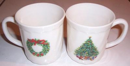 Porcelle Christmas Milk Glass Collectible Mugs Noel Salem France - $16.99