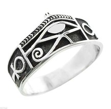 Solid Sterling Silver Eye Of Horus Ankh Egyptian Ring (Size 14.25) - $40.00