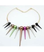 Fashion Colorful Rivets Bib Necklace - $6.29