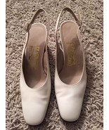Women's Ferragamo Off-white Sling Back Shoes, Size 6B - $79.99