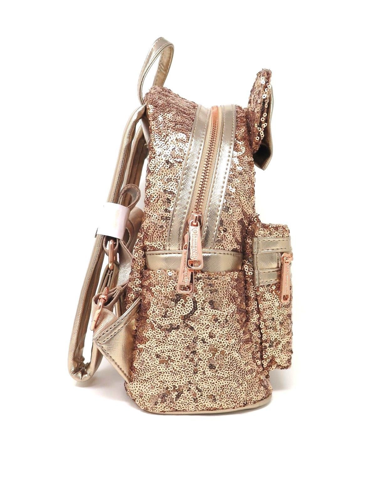 da32c902b13 Disney Parks Loungefly Rose Gold Sequin Minnie Mini Backpack Purse Bag WDW  Bow