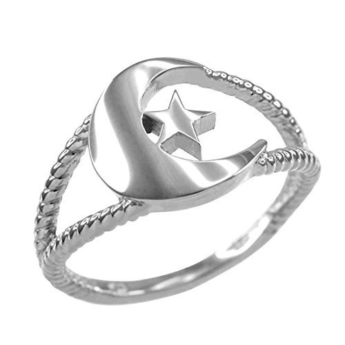 14K White Gold Crescent Moon Dainty Islamic Ring (Size 8.25)