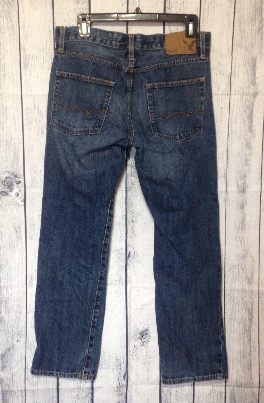 American Eagle Slim Straight Blue Jeans Mens 30x30 Dark Wash 30X27 100% Cotton
