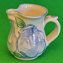 """Vintage Hand-Painted Blue And Green Ceramic Creamer Marked """"SP"""" - $2.95"""