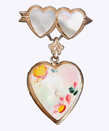 Vintage Heart Locket Sweetheart Pin Brooch Mother of Pearl  - $26.95