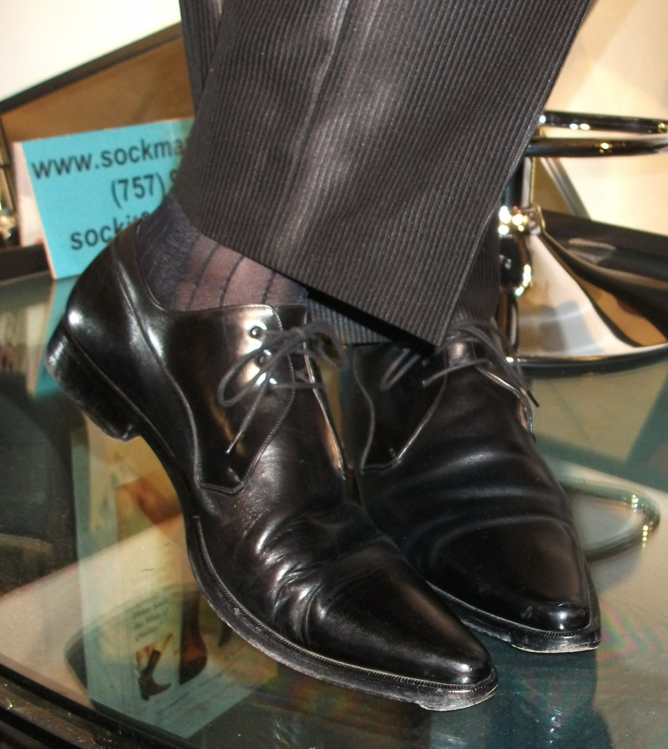 NEW Mens Sheer Nylon Black Thick N Thin (TNT), Cap Toe & Heel, Mid-Calf Socks