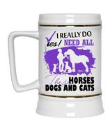 Cute Cattle Beer Stein 22oz, Need All These Horses Dogs And Cats Beer Mug - $26.99