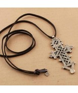 Vintage Leather Chain and Cutout Cross Pendant Necklace - $6.49